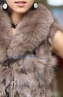 Free shipping  EMS /UPS 2010 HOT SALE  KOREAN STYLE Women's wool warm  winter noble fox fur coat waistcoat(MIX COLOUR+MIX SIZE)