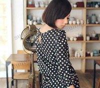 New Fashion dot Ladies Romper Suit Cat Suit Long Sleeve Jumpsuits Black/ Khaki free shipping 9186