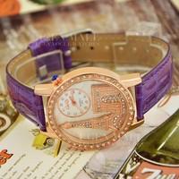 Наручные часы New Women's Eh Phil Pyramid Fashion Rhinestone Brand Style Lady Quartz Girl's 3D Pattern Dress Wrist Watches