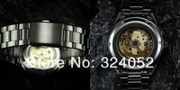 Наручные часы 2013 HOT! Rare Timepiece Titanium Black Golden Skeleton Mechanical Captain Watch