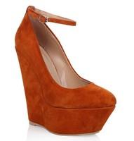Мода клинья замша кожа женщин лодыжку ремень женские насосы платформы высокие каблуки обувь Размер us4-11