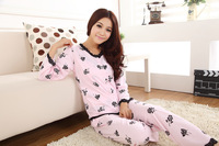1Set/Lot Autumn / Spring Floral Lace Women Pajama Sets in Pink Cotton Sleepwear for Lady P6842 Free Shipping