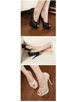 дамы сексуальные кружева заглянуть ног платформы насосов шпильки высоких каблуках обувь черный белый