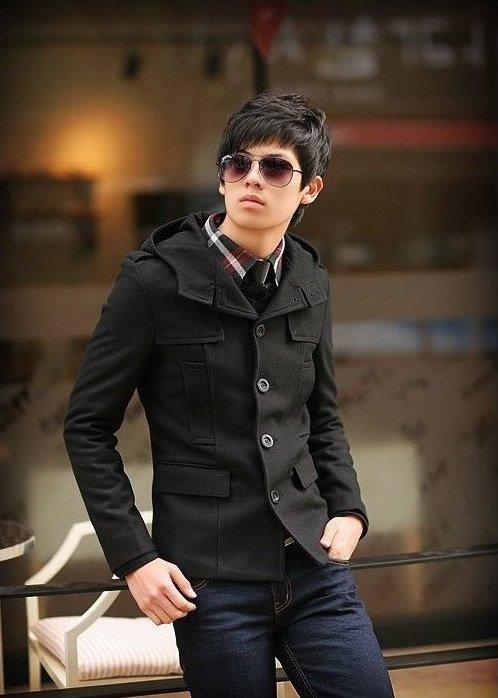 Wholesale-Promotion Fashion Men's Wool Short Coat Hooded Korean ...