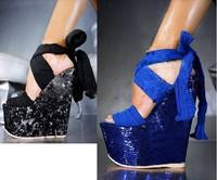 Туфли на высоком каблуке 160mm women wedge sandals blinking glitters party dress high heel pumps strappy shoes