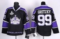 Дешевые аутентичные Лос-Анджелес Кингс болельщиками хоккей #99 Уэйн Гретцки Джерси Вышивка логотипов смесь порядка