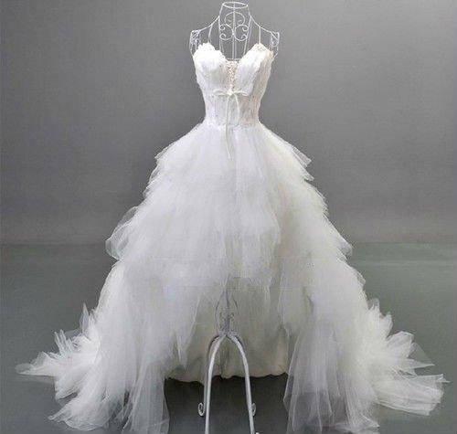 Free Shipping Strapless Sweetheart Short Front Long Back Wedding Dress White