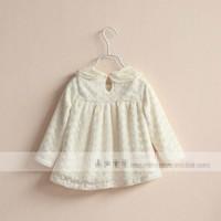 Блузка для девочек Fashion new winter korean children plus velvet long sleeve t-shirt girl lace lapel Embroidered Thicken princess doll shirt 2097