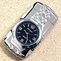 Стильный Прохладный 2-в-1 привело красочные легкие металлические часы + ветрозащитный газовой зажигалки - бронза