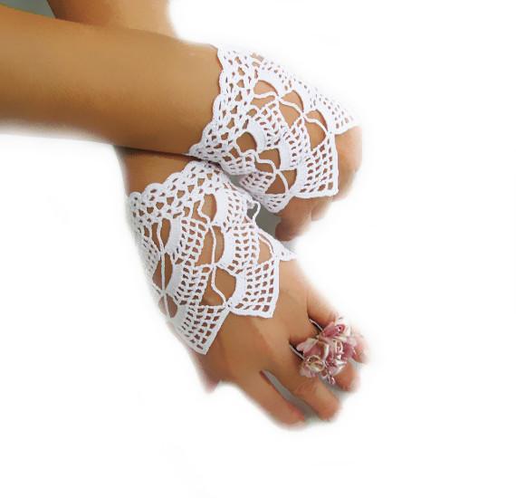 Белый крючком свадьба перчатки, Свадебные аксессуары, Без пальцев