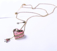 Цепочка с подвеской Jewelry Antique Girls Necklaces Fashion Pink Heart Pendant Charms Bronze Beaded Locket Necklace SJX013