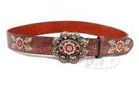 Hot-sale high-quality fashion ladies belts Women Antique Buckle Blossom Printing Leather Belt Jeans Belt BT-B426