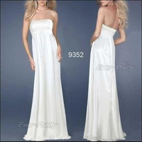09352WH Free Shipping White Strapless Fashion Long Evening Bridesmaid Dress