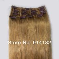 """новые волосы прямо женщин aaa + клипы в наращивание 20""""- 32"""" 105g 16clips / 140g 21clips темнее блондинки #16"""