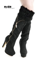 Женские ботинки 2012 Kvoll winter high boots, ladies sexy boots/boots with rabbit hair decoration HIPPNG X4757