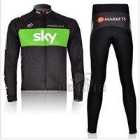 Free shipping sky  Team  thin Long Sleeve  clothing Wear  bike Jersey +  pants suit  Sportswear