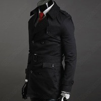 Мужской тренч Men's Fashion Stylish Double Breasted High Quality Long Trench Coat Jacket 2Color 4size