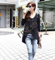 Free shipping 3pcs/lot New Women's Fashion Irregular Solid Top Knit Blouse Tops Long Sleeve T-shirt 3Colors 9403