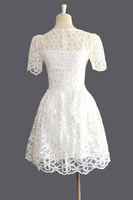 Женское платье Bling New Women Cute White Dress Hollow Out Floral Lace Dress Korean Sweet Slim Waist Bud SHort Sleeves Gown 10247