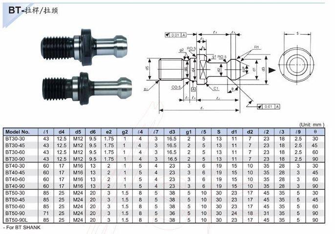 5pcs X Bt40 45deg Pull Studs For Mas403 Bt40 Taper Cnc