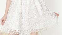 Женское платье Bling New Women Cute White Dress Hollow Out Floral Lace Dress Korean Sweet Slim Waist Bud SHort Sleeves Gown 10247