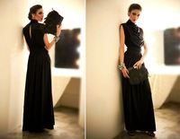 Noble Luxurious Stand Collar Waisted Sleeveless Hollow Back Maxi Dress Black/Grey/Red
