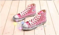 Женские кеды 2013 fashionable women pink canvas rivets sneakers high-top spikes sneakers shoes lace up casual shoes Distress sneakers