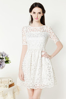 Free Shipping Bling New Women Cute White Dress Hollow Out Floral Lace Dress Korean Sweet Slim Waist Bud SHort Sleeves Gown 10247