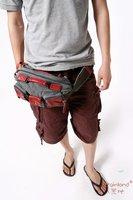 Сумка на талию Hot 6703 grey fashion style washed cotton canvas + genuine leather waist bag