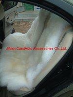 1 Set Deluxe Long Hari Sheepskin Car Seat Cover (white)