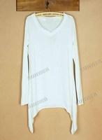 Женская футболка 3Pcs/lot Women Long Sleeve Irregular Hem Loose Render Bottoming Shirts T-shirts 3 Colors 9141