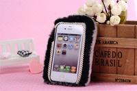 Чехол для для мобильных телефонов Luxury GREY REX Rabbit Fur Fluffy Case Cover for i Phone4 4S 5 5G without front cover