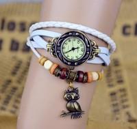 Наручные часы Hot sale 2013 New Fashion Genuine Cow Leather Watch women ladies vintage owl tag quartz wrist watch drop shipping kz020