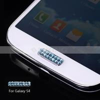 Стразы для мобильных телефонов Bling Crystal Home Button Sticker for Samsung Galaxy S4 GT-I9505/GT-I9500 Light Blue