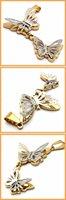 Мода ювелирные изделия два слоя полые золотые бабочки кулон 316l нержавеющей стали ожерелье ожерелья 18909