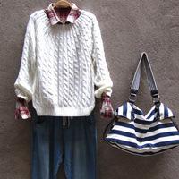 Hitz Британский стиль пуловер свитер меняться твист свободные свитера свитер крючком женщин зимой