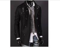 Мужской тренч Men's 2013 fashion coat double breasted stand collar epaulette medium-long trench men's clothing