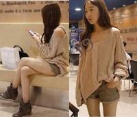 Женский пуловер Korean Style Women's Sexy Hemp Flower Open Off Shoulder Crochet Loose Knitwear Knitted Sweater 3 colors 7797