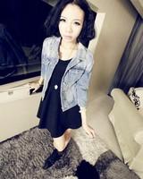 Женская куртка 2013 Latest Korean Style Women's Three-quarter Sleeve Denim Jean Slim Jacket for Autumn