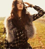 [CPA Free Shipping] Fashion Genuine Mongolian Sheep Fur Short Vest / Multi-Color 100% Sheep Fur Gilet (FM-13)