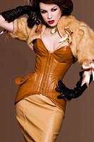 Корсет New Sexy Corsets Women 2PC Noble Brown Leather Corset LB1170