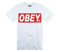 Мужская футболка hot 2012 Man's top selling the best gift clothes Obey street hiphop letter classic lette cotton short-sleeve T-shirt