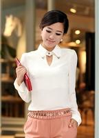 Новый стиль женщины случайный полный slevee блузка, блузки стиль моды ol, v-образный вырез рубашки