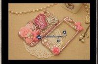 Чехол для для мобильных телефонов 3D pretty flower crystal crown pink heart bling phone case for iphone 4 4S
