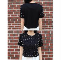 Новая мода бисером женщин т-тенниски/бренда летние короткие Футболки Повседневная одежда женщин Женская одежда