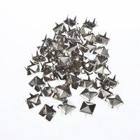 50CS 8MM Pyramid Studs Spots Nickel Punk Rock Design Spikes Heavy Duty DIY Craft