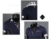 2012 New fashion Men's Casual Stylish Polo shirt Slim Fit Short Sleeve Casual T-Shirt free shipping