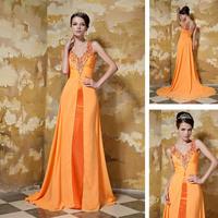официальный дизайнер моды рябить желтый итальянский кафтаны Русалка дамы кристалл женщин шифон вечерние платья
