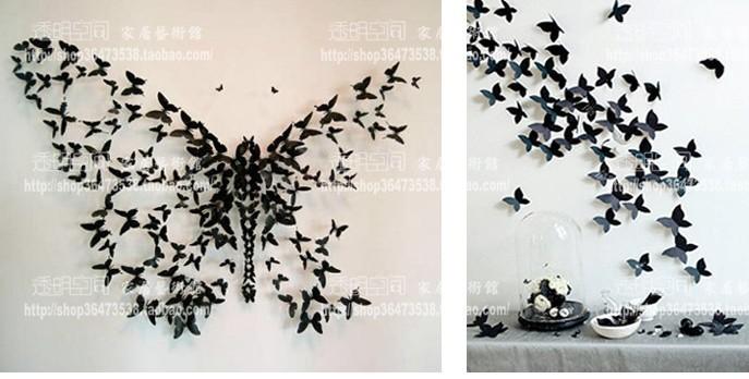 livraison gratuite 50 pcs lote 8 cm bricolage 3d wall sticker papillon home decor chambre. Black Bedroom Furniture Sets. Home Design Ideas