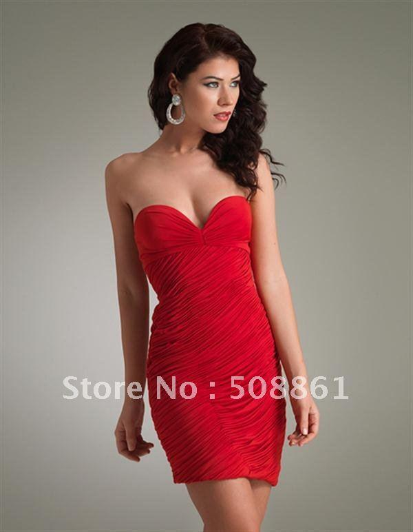 red sweetheart neckline cocktail dress   Gommap Blog